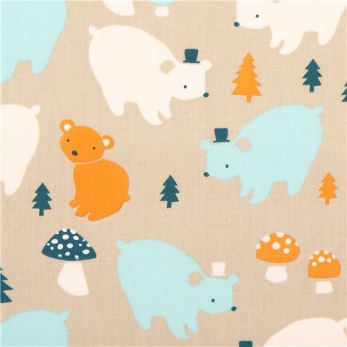 grey bear family forest birch organic fabric Everyday Party