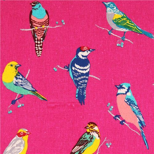 hot pink birds echino Canvas fabric with birds