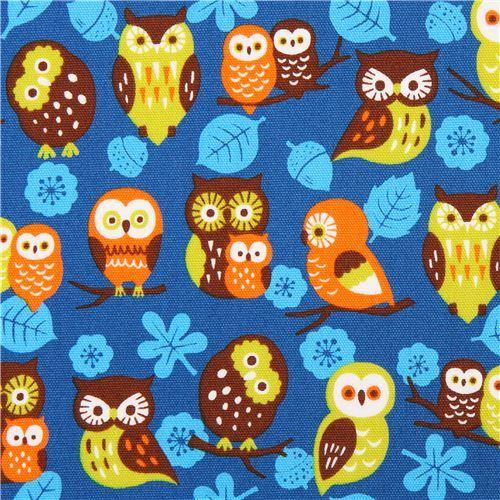 blue Cosmo owl oxford fabric leaf acorn Japan
