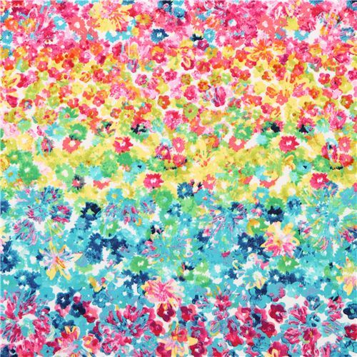 colorful Flower Fields flower bed flower fabric Michael Miller Spring Fling