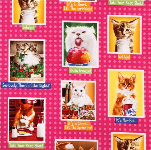 hot pink cat food animal fabric Robert Kaufman Eat Drink And Be Funny