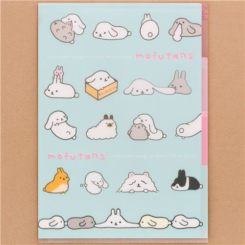 blue Mofutans Mochi rabbits 3-pocket A4 file folder