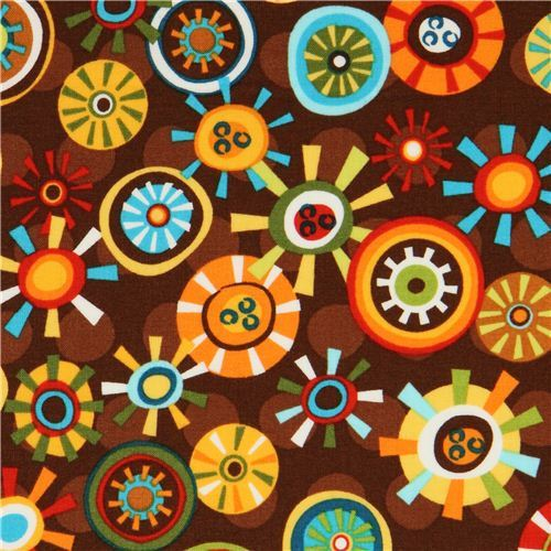 brown flower fabric by Robert Kaufman from the USA