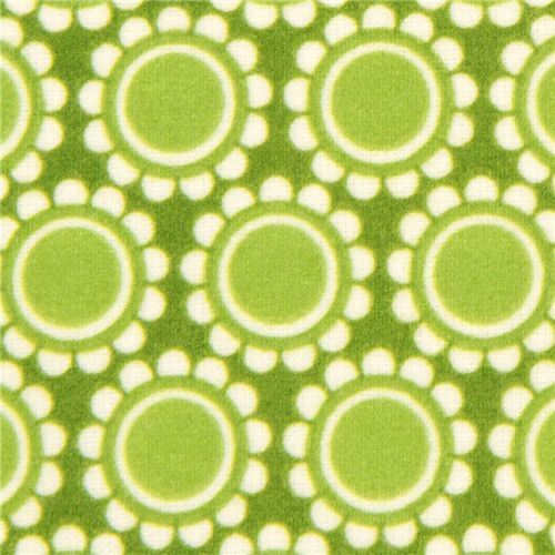 green florets flannel fabric by Robert Kaufman