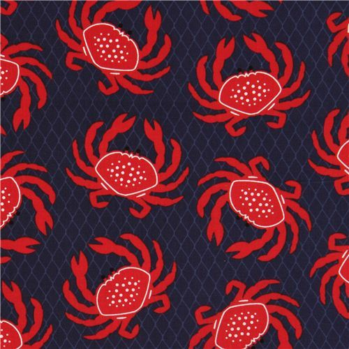 navy blue Timeless Treasures crab animal fabric