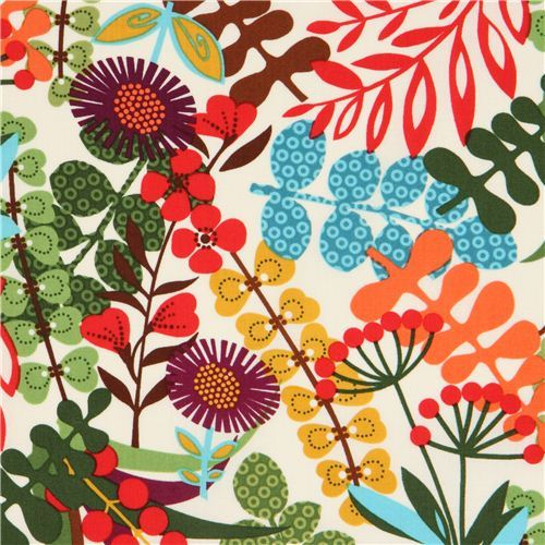 off-white Timeless Treasures fabric with wild flowers USA