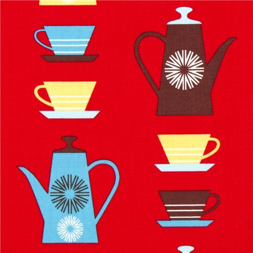 red fabric with coffee pots & mugs by Robert Kaufman
