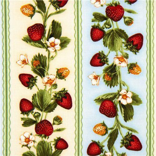 off-white fabric strawberry & stripes Robert Kaufman