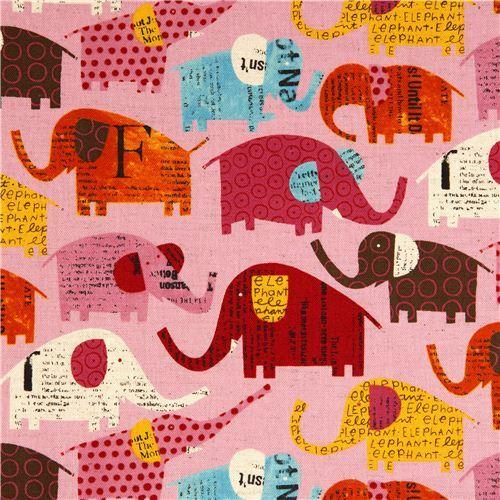 pale pink elephant canvas fabric by Nancy Wolff Kokka