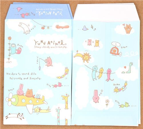 kawaii blue cloud animals  mini envelope Japan