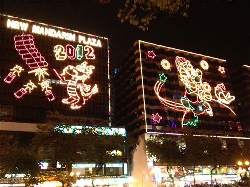 Chinese New Year lights covering whole buildings at the New Mandarin Plaza