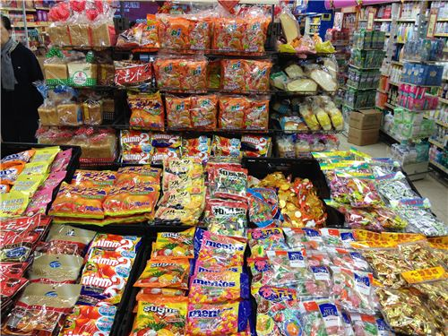 big tables full of candy