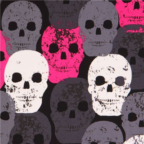 black fabric with pink grey white Skulls 'Skull of Rock' Michael Miller