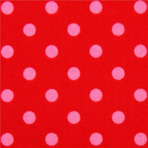 red Michael Miller fabric small pink polka dots