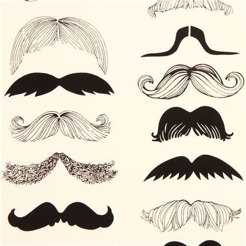 beige moustache fabric by Alexander Henry from the USA