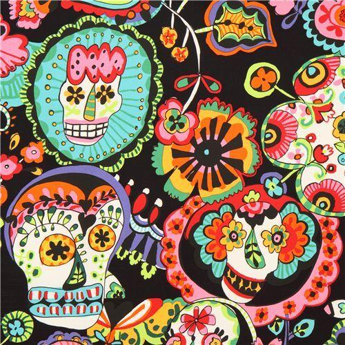 black Alexander Henry flower skull fabric USA
