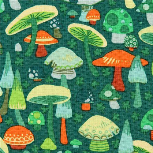 green Alexander Henry mushroom fabric O'Mushroom