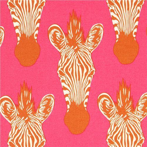 hot pink Alexander Henry zebra animal fabric Zahara