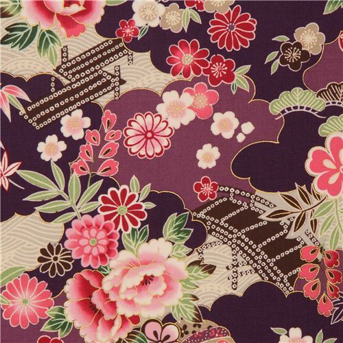 purple-violet Japanese flower fabric with gold by Kokka