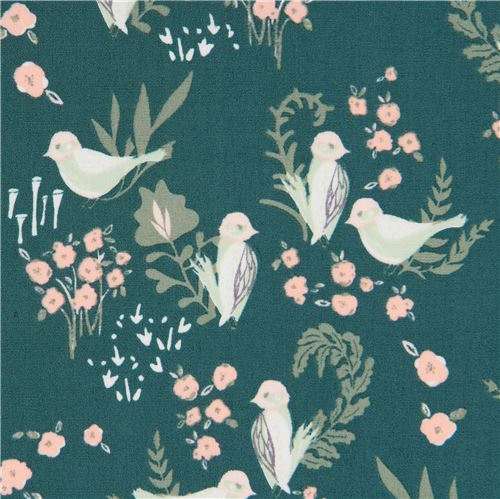 dark green fabric with small flower bird animal by Art Gallery Fabrics