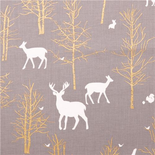 Timber Valley fog deer forest fabric by Michael Miller