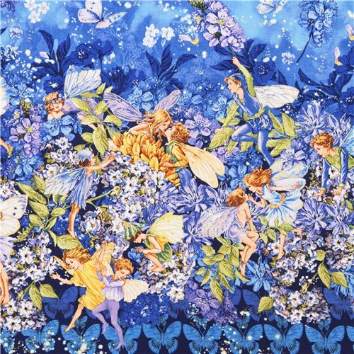 blue fairy tale fabric Michael Miller Dusk fairies border