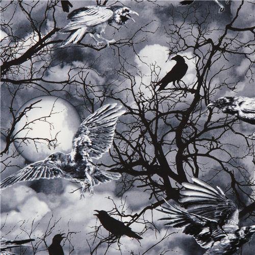 grey black Gothic raven Halloween fabric Timeless Treasures USA
