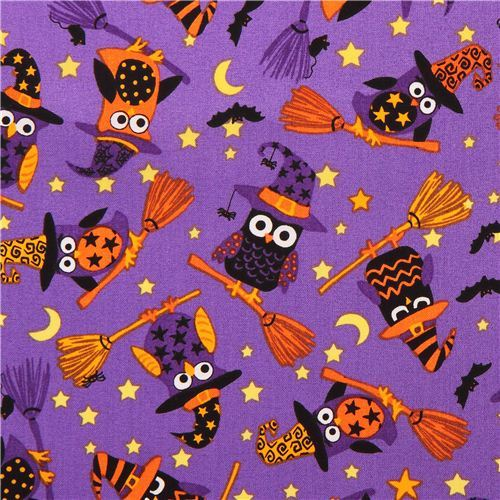 purple Halloween owl witches fabric Timeless Treasures USA