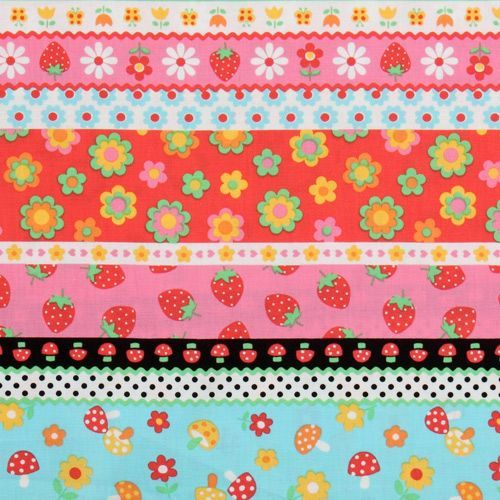 colourful stripes fabric strawberry flowers mushroom