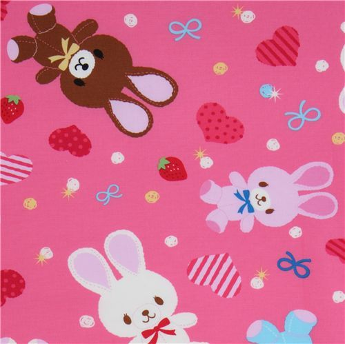 cute pink bunny fabric by Kokka Japan kawaii