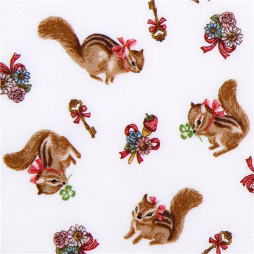 cute white chipmunk fabric by Kokka Japan