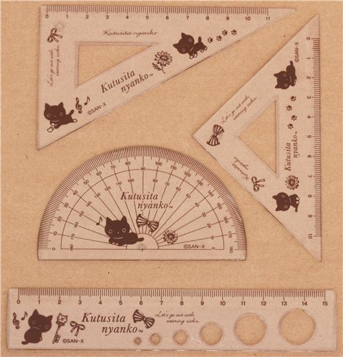 Kutusita Nyanko cats bows ruler set 4 pcs