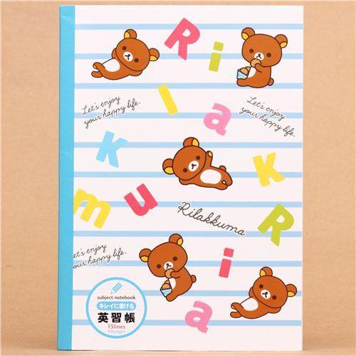 blue Rilakkuma bear alphabet notepad exercise book