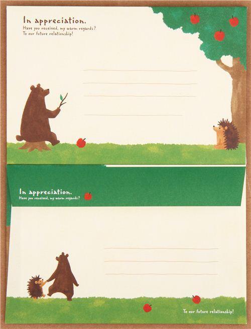 kawaii bear hedgehog animal apple Letter Set from Japan