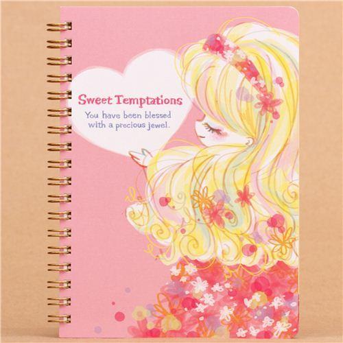 kawaii manga girl flower ring binder notebook