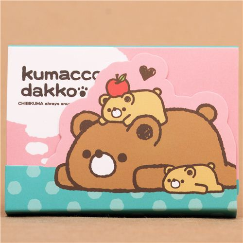kawaii pink and green bear animal mini Note Pad Mind Wave