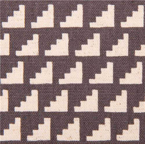 charcoal steps stairs geo Canvas fabric Framework Kokka