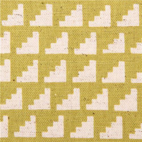 chartreuse steps stairs geo Canvas fabric Framework Kokka