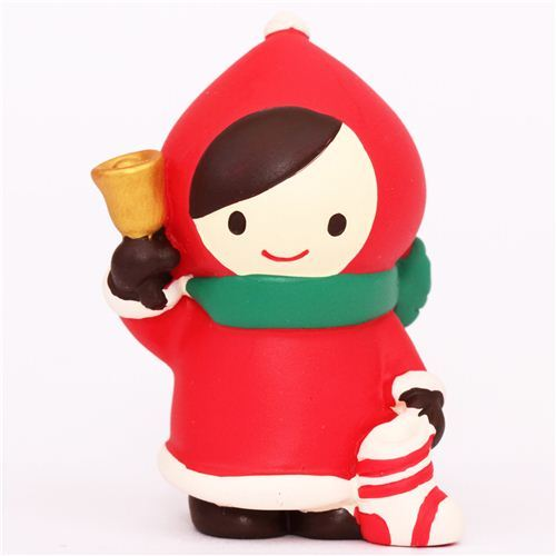 Little Red Riding Hood with bell Christmas figurine Japan