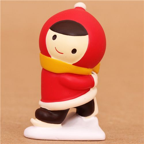 ice skating Little Red Riding Hood Christmas figurine Japan