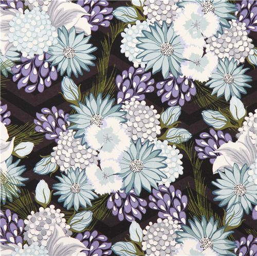 black and grey 'Bel Air' blossom flower fabric by Andover USA