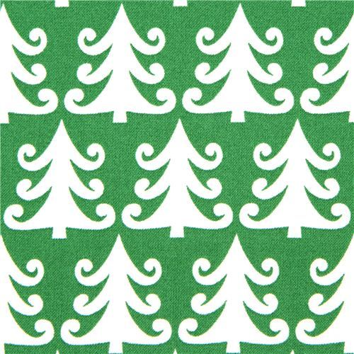 green Michael Miller Christmas fabric with fir trees