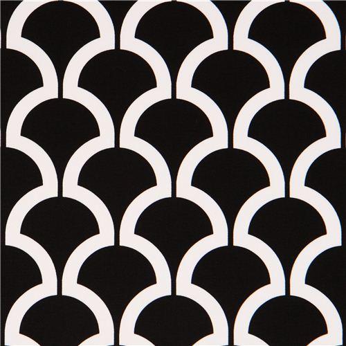 black pattern cotton sateen fabric Michael Miller