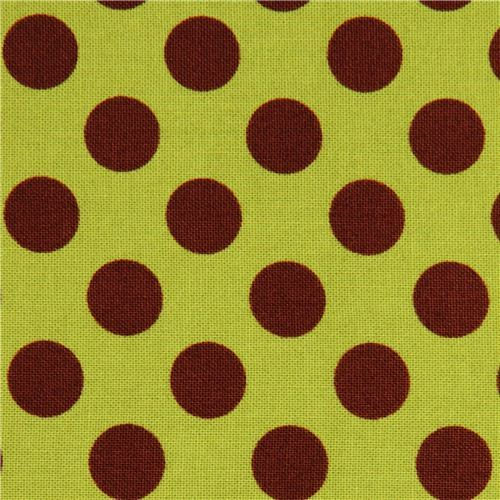 green dot fabric with brown polka dots by Michael Miller