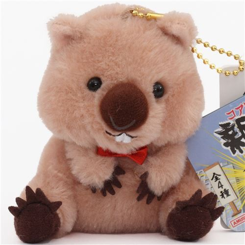 cute brown wombat orange bow plush toy from Japan