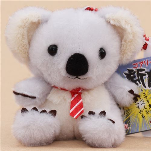 cute grey cream koala red white stripe tie plush toy from Japan