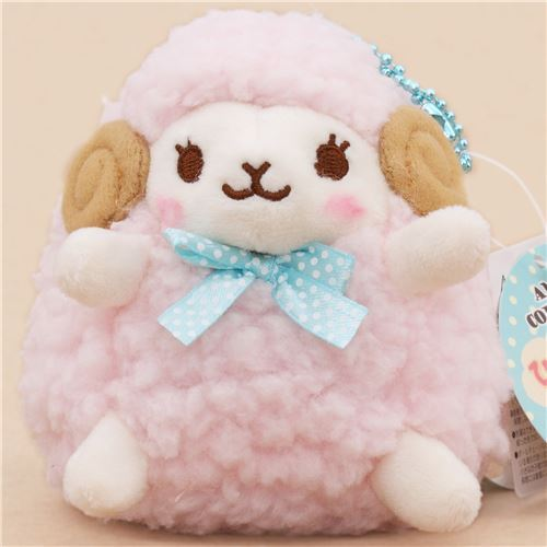 cute light pink sheep with turquoise bow from Japan