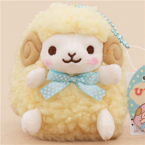 cute light yellow sheep with turquoise bow from Japan