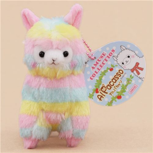 cute multicolor alpaca plush toy from Japan