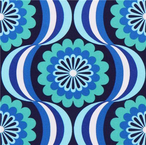 retro flower canvas fabric blue Robert Kaufman